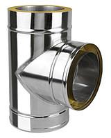 Тройник 90 с теплоизоляцией нерж/оц Версия Люкс толщина 0.6 мм D 100-300 мм