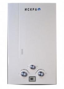 Газовый проточный водонагреватель ИСКРА белого цвета. Газовая колонка класика (10 л\мин)