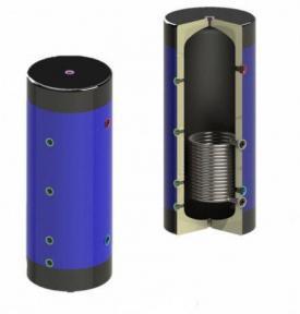 Буферная емкость 200 л (500 х 1000) с утеплением и теплообменником